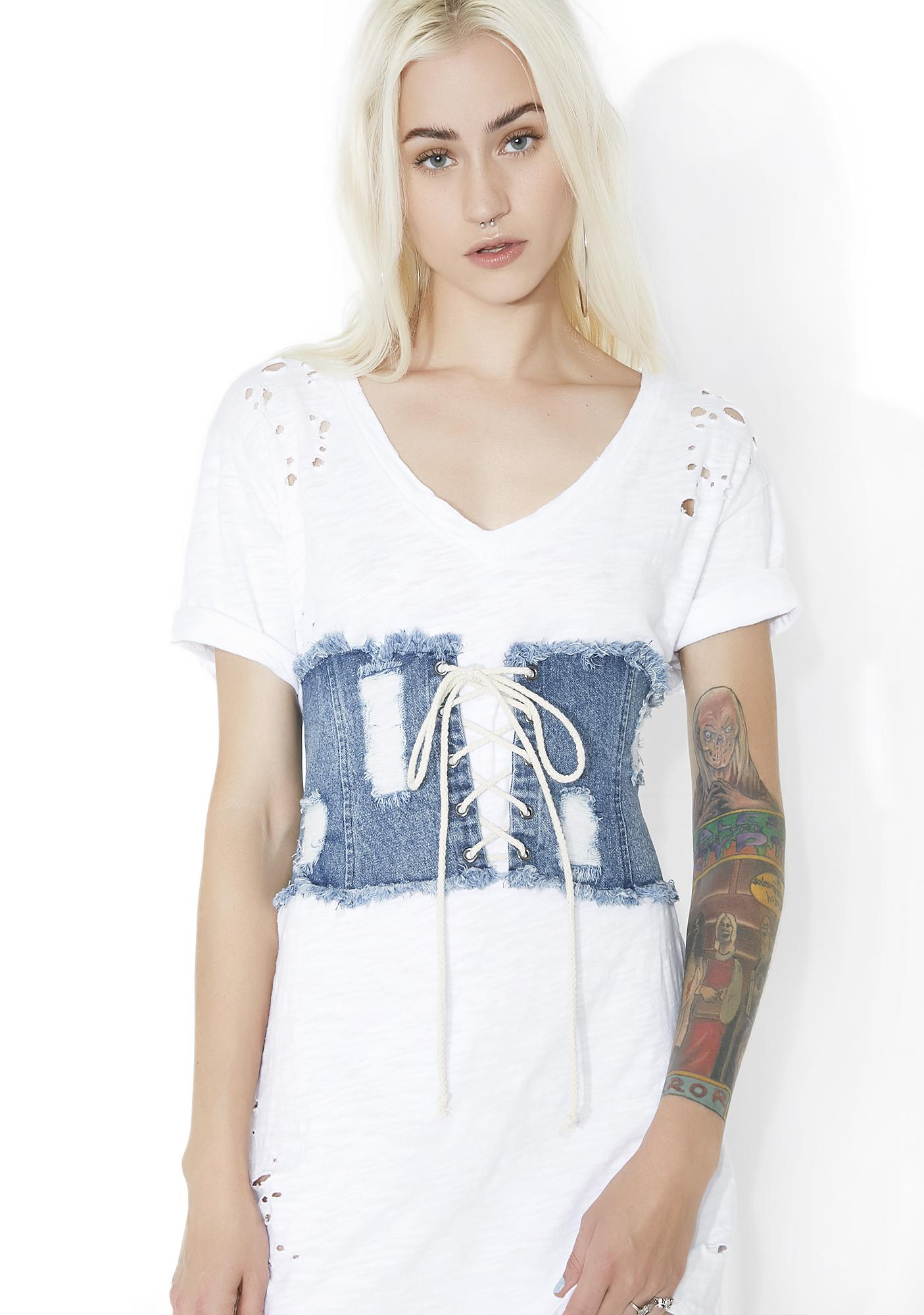 New Scene Distressed Denim Waist Belt