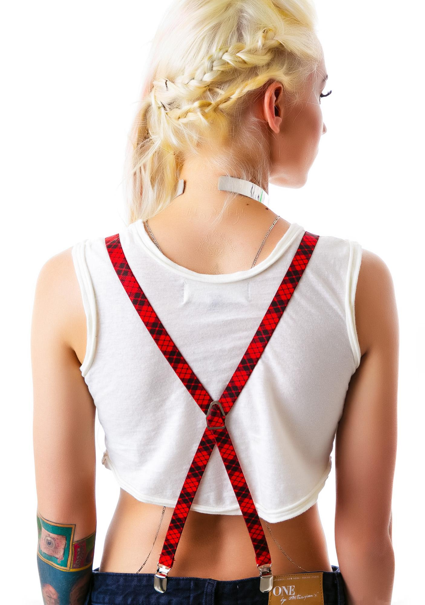Sourpuss Clothing Plaid With Me Suspenders