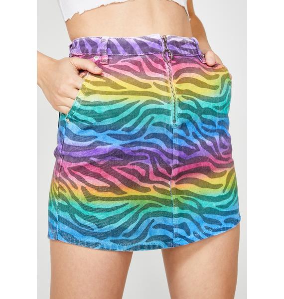 Zebra Spectrum Denim Skirt