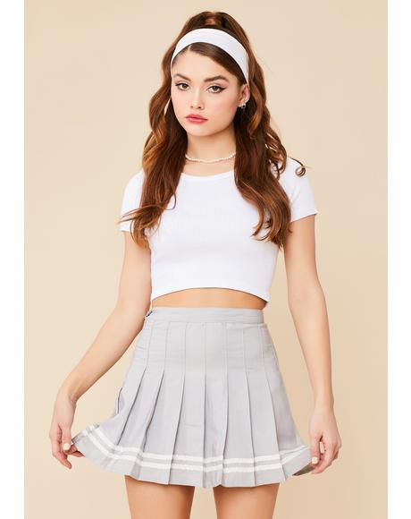 Heather Flirt Alert Pleated Mini Skirt