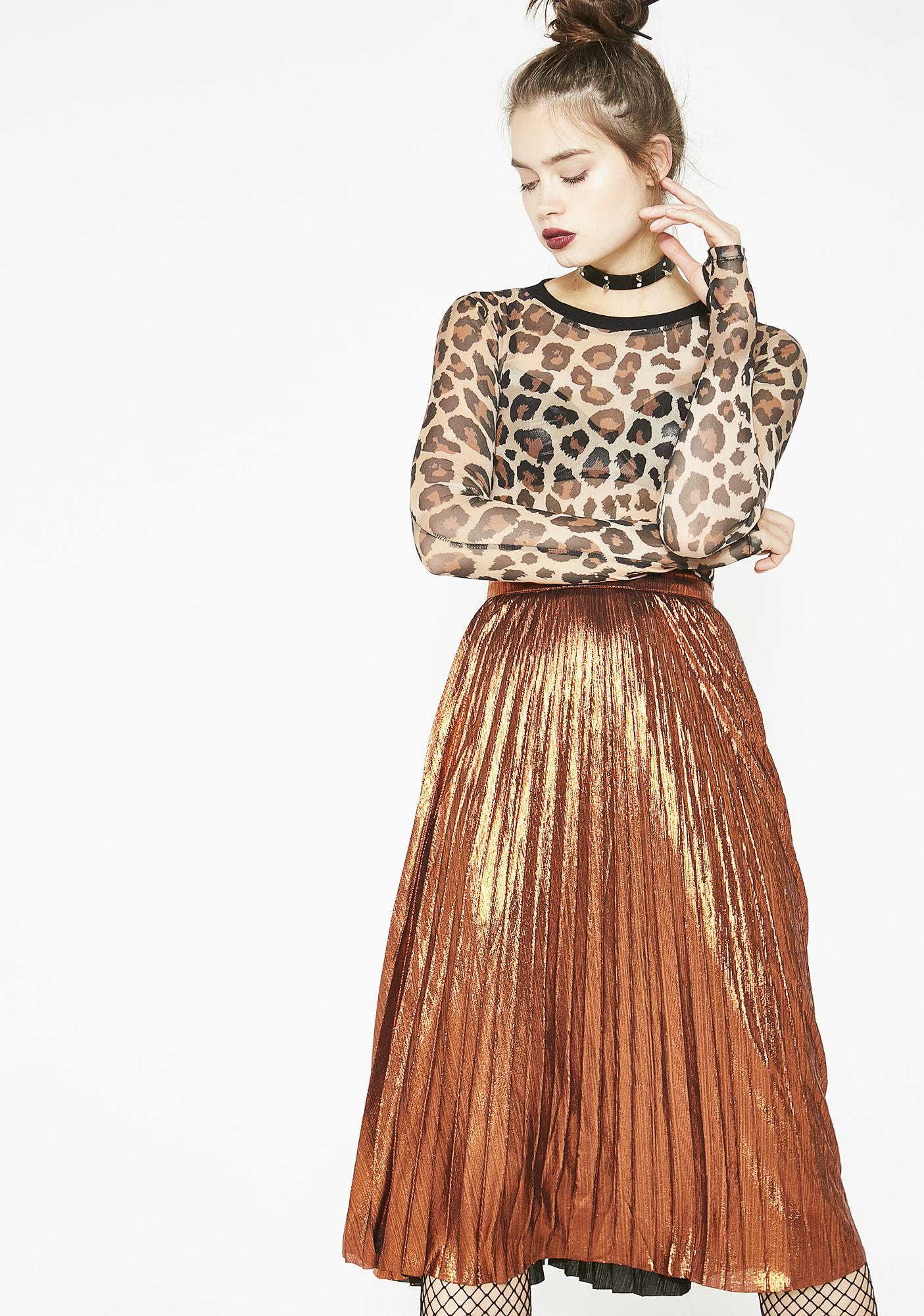 Caramel Tipsy Twirl Metallic Skirt