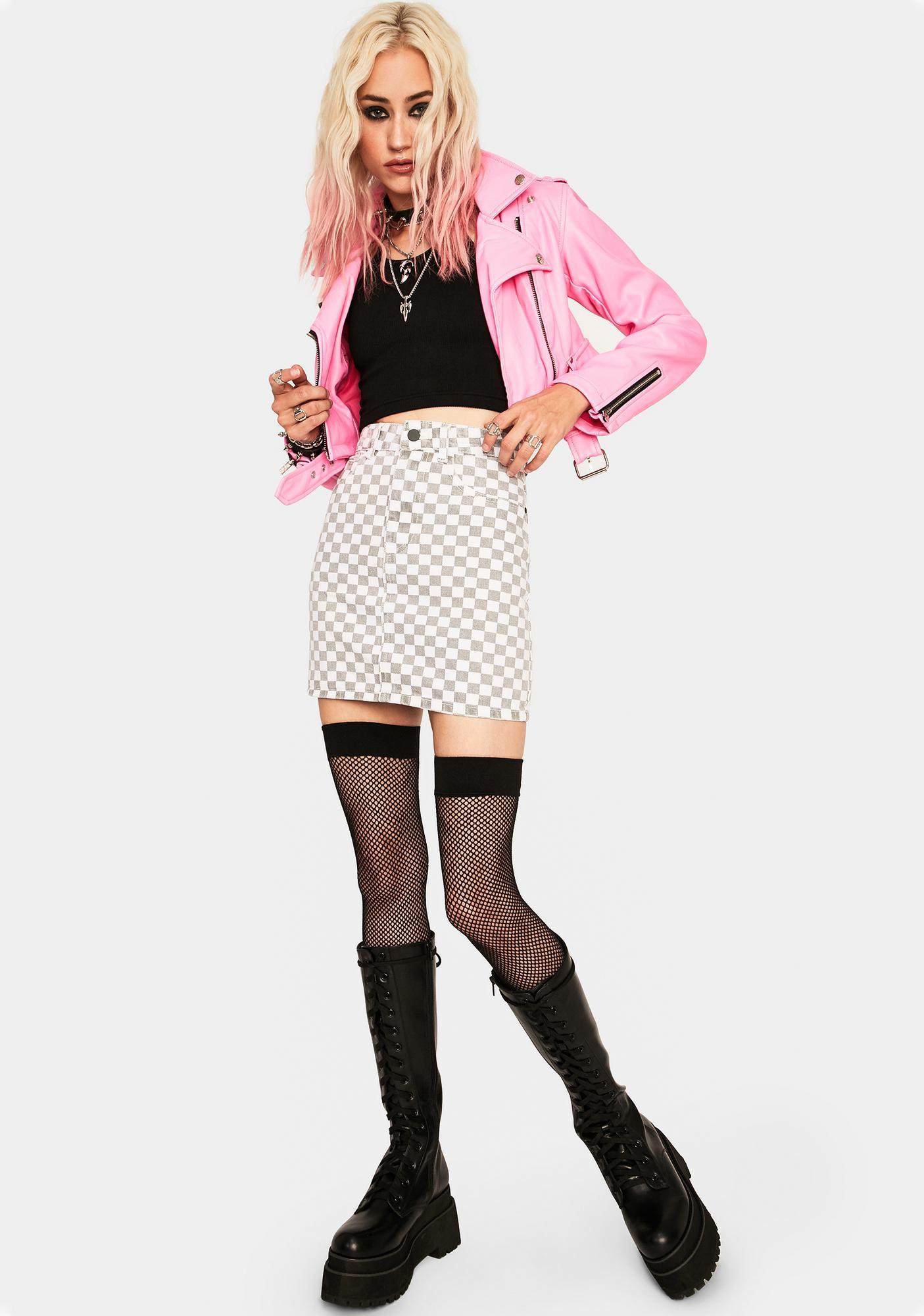 Momokrom Checkered Denim Skirt