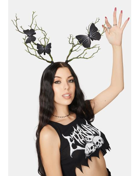 Fluttering Nature Antler Headband