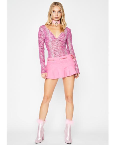 Raspberry Toxic Viper Holographic Bodysuit