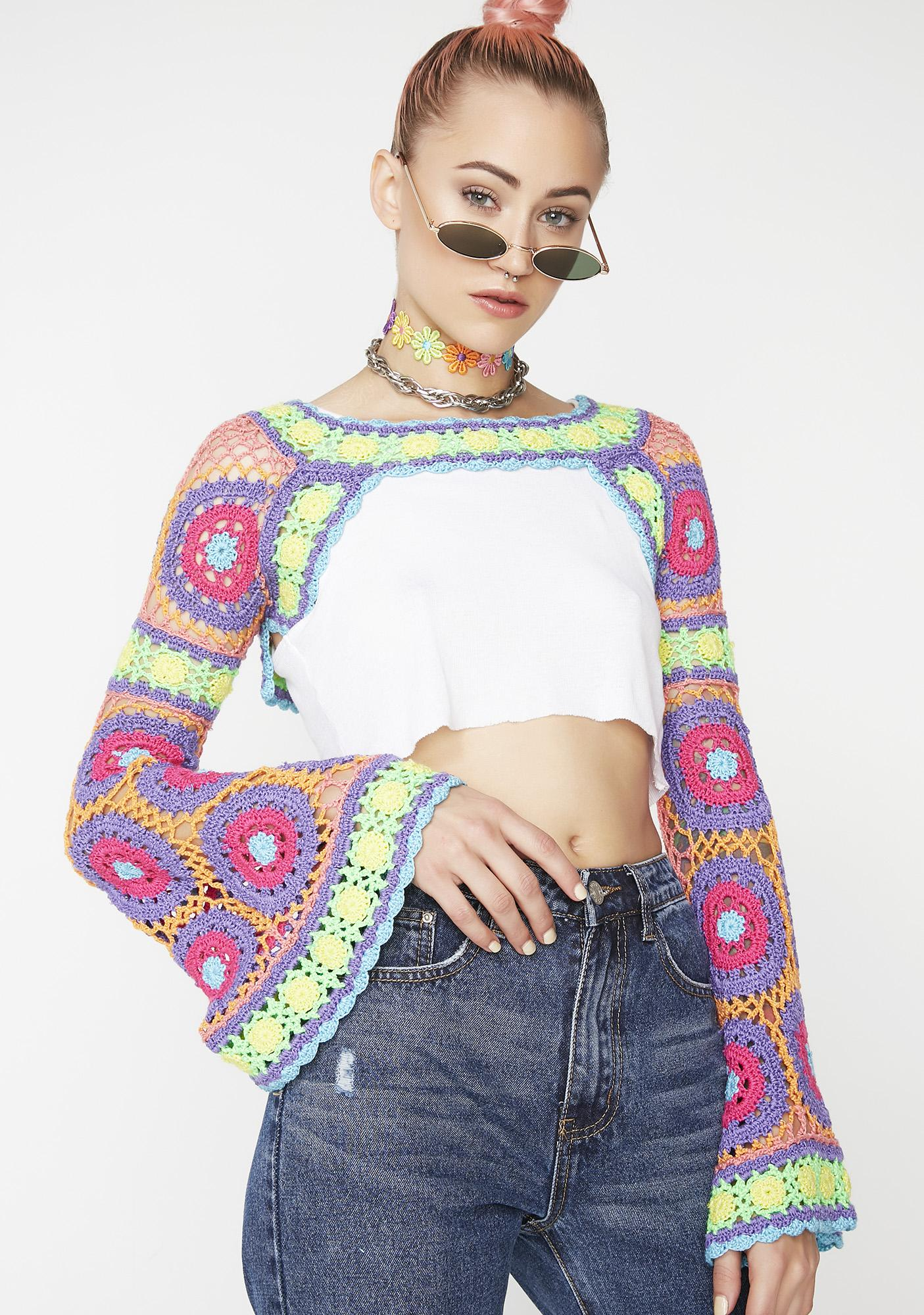 Current Mood Free Your Mind Crochet Shrug