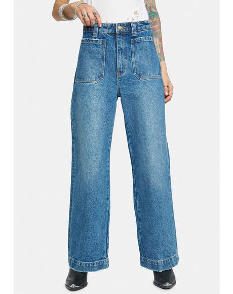 Paris Blue Sailor Long Wide Leg Jeans
