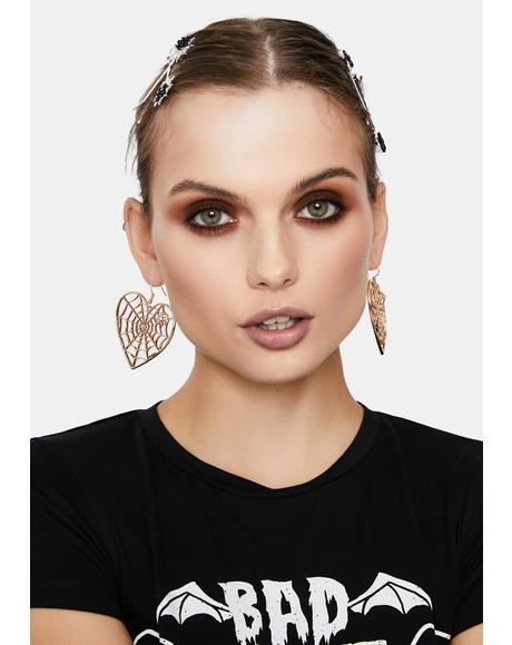 Golden Spider In Love Drop Earrings