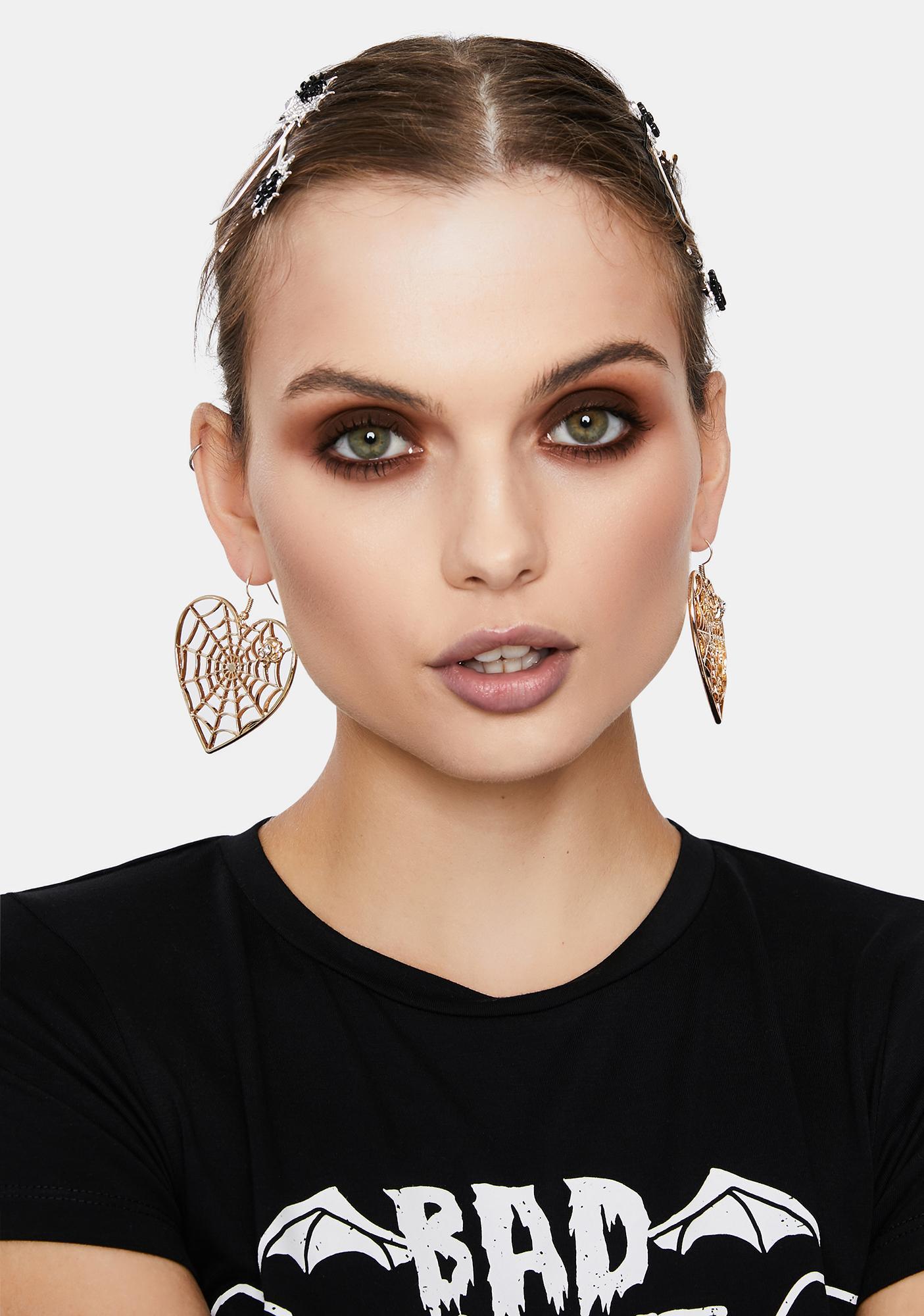 Golden Spider In Love Drop Earrings