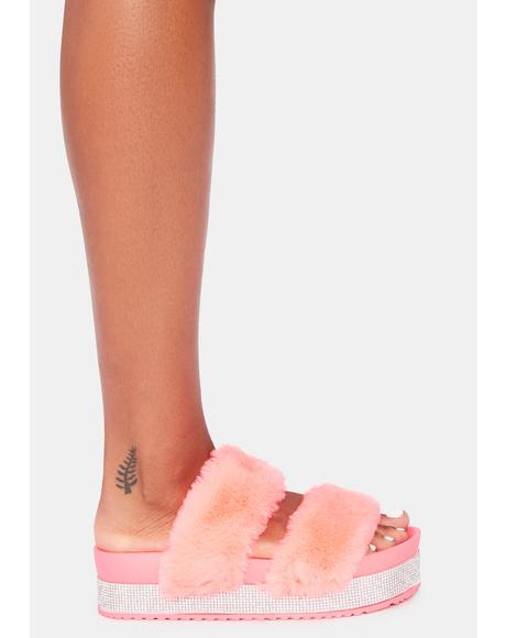 Bubblegum Luxe Love Platform Slides