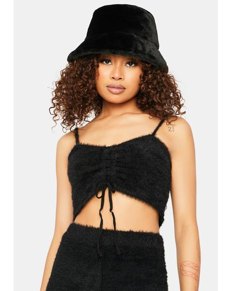 Dark Banana Pancakes Fuzzy Ruched Crop Top