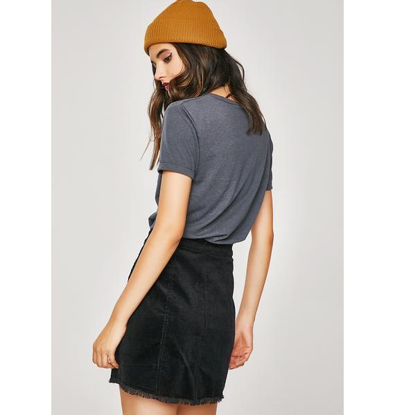 Pushin' Buttons Mini Skirt