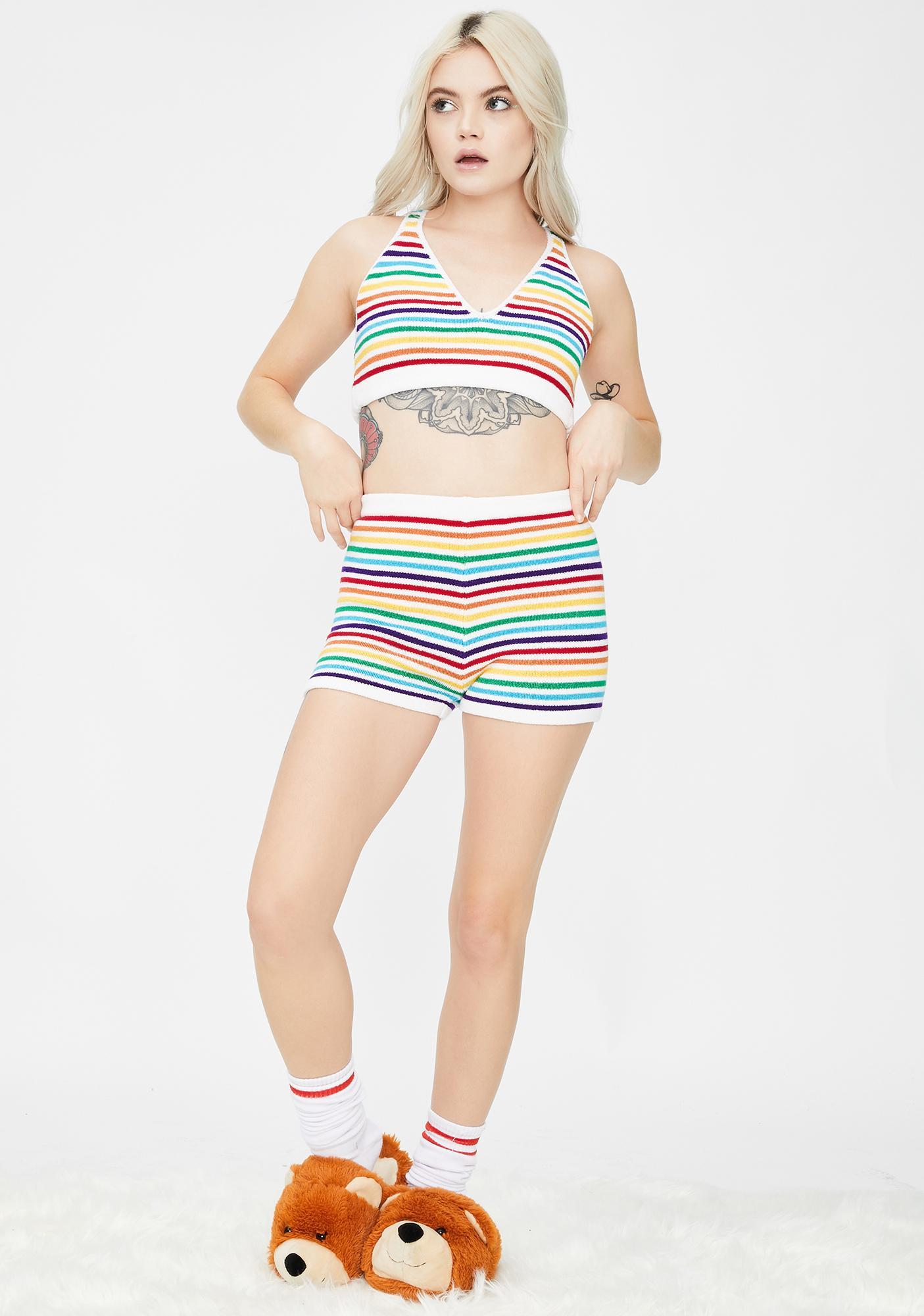 Knitty Kitty Rainbow Stripes Knit Shorts