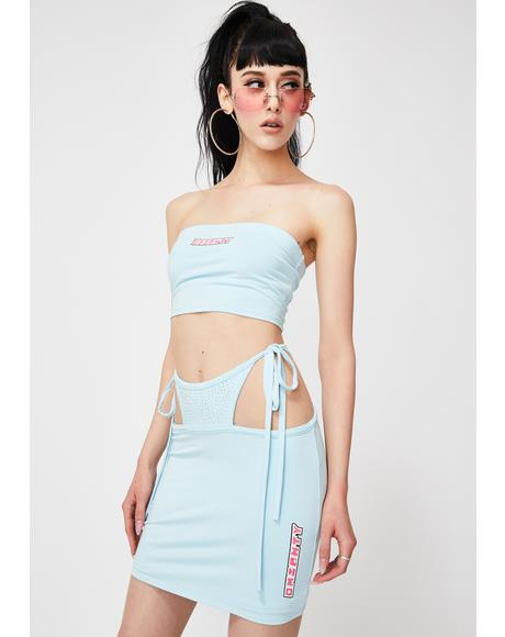 Blue OG G String Mini Skirt