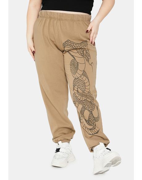Khaki Curve Cobra Snake Jogger Sweatpants