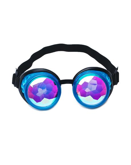 Glow Blue Kaleidoscope Goggles