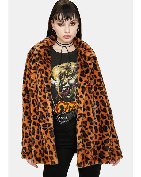 Befur Anyone Else Leopard Print Fuzzy Jacket