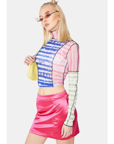 Multi Dye Stripe Mesh Top