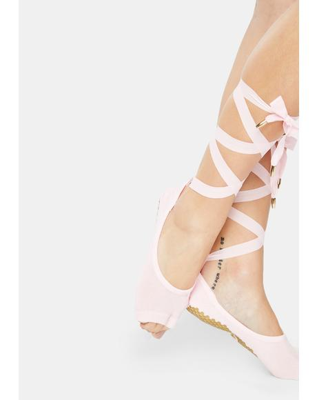 The Blush Toeless Lace Up Socks
