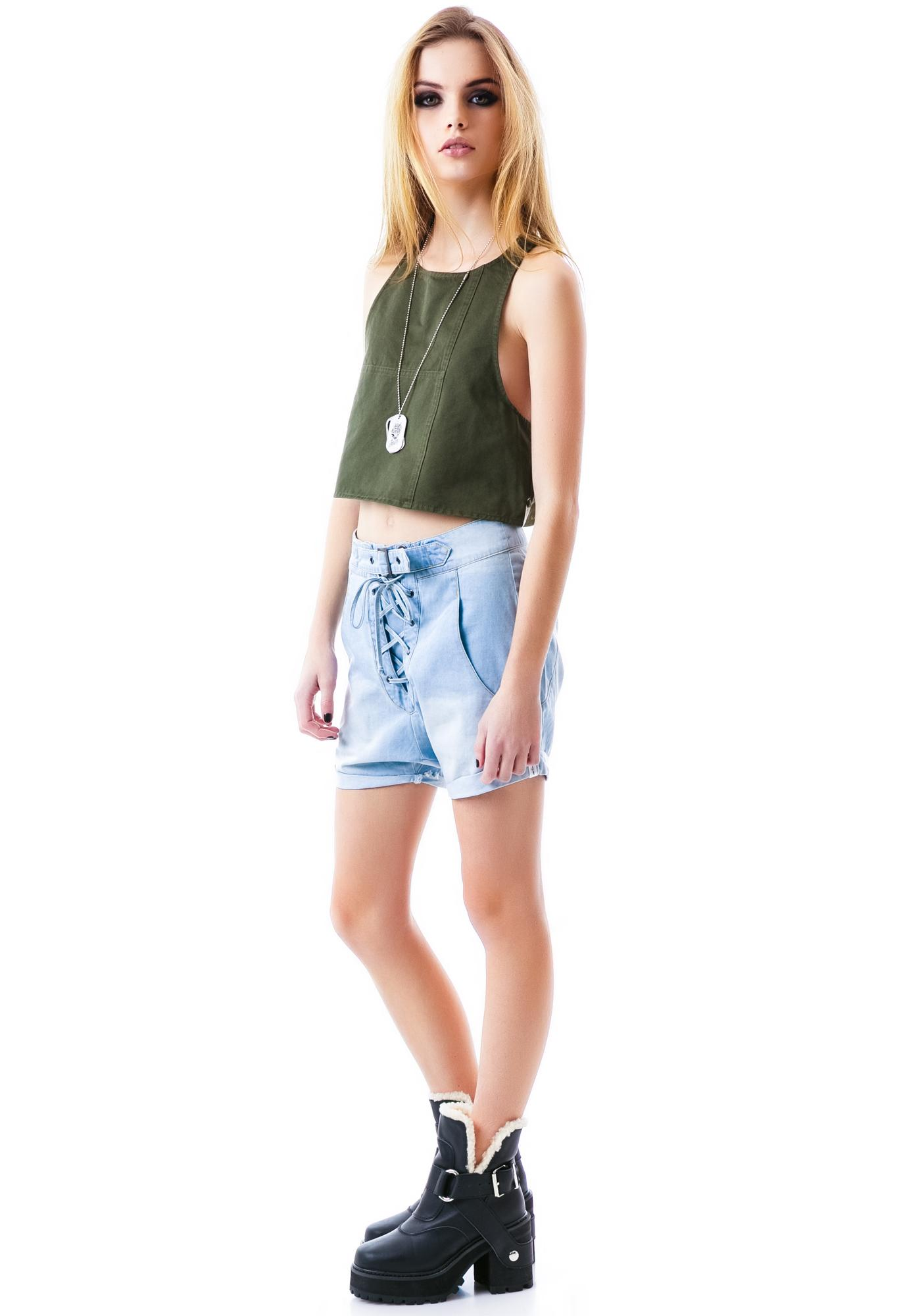 One Teaspoon Military Crop Racer