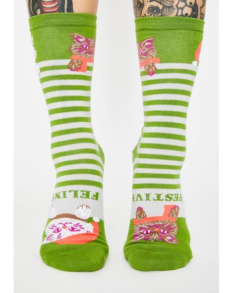 Feline Festive Crew Socks
