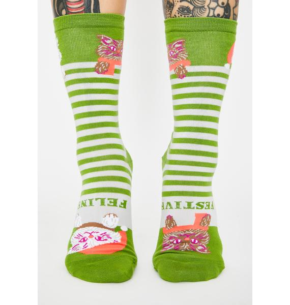 Yellow Owl Workshop Feline Festive Crew Socks