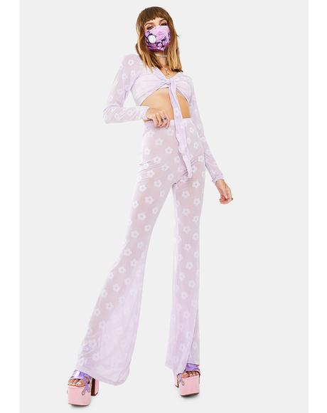 Lilac Daisy Herlom Flare Trousers