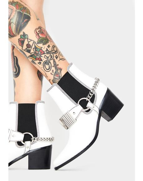 White Pacey Ankle Boots