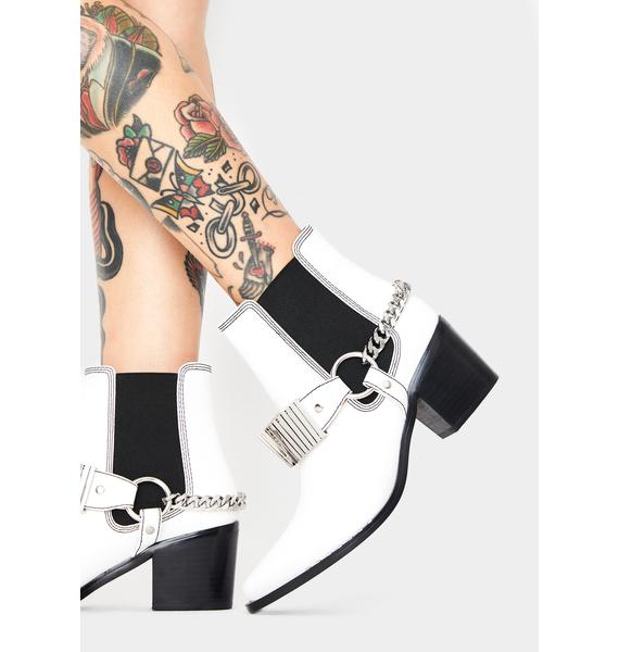 Rebels White Pacey Ankle Boots