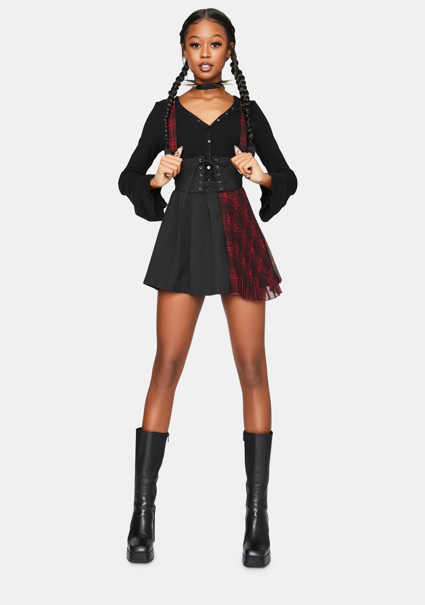 Punk Rave Plaid Paneled Suspender Skirt