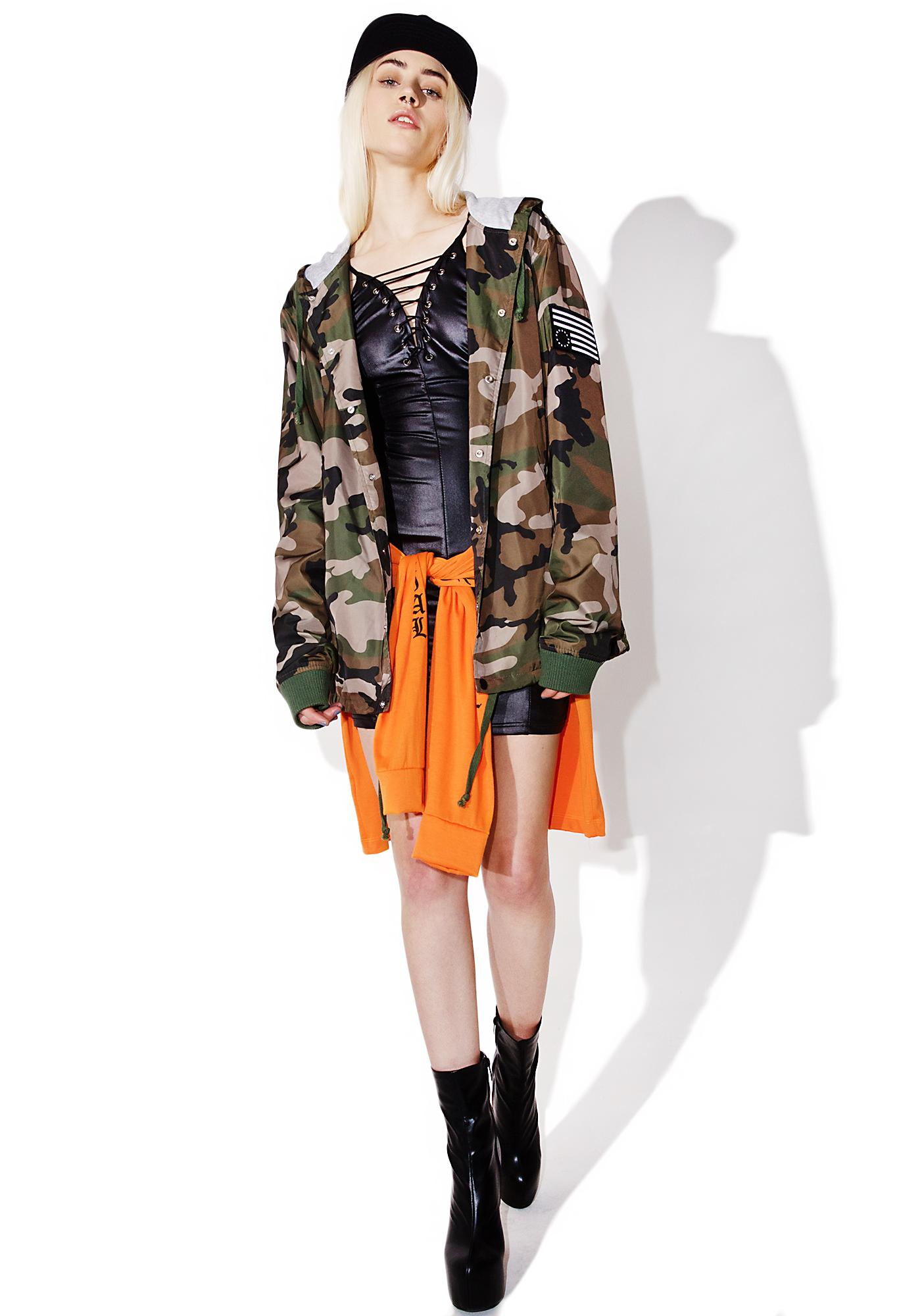 Black Scale Woodland Hooded Coaches Jacket
