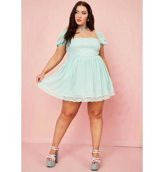 Sugar Thrillz Juicy Honeydew Pucker Babydoll Dress
