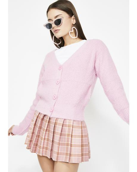 Bubblegum So Cher Fuzzy Cardigan