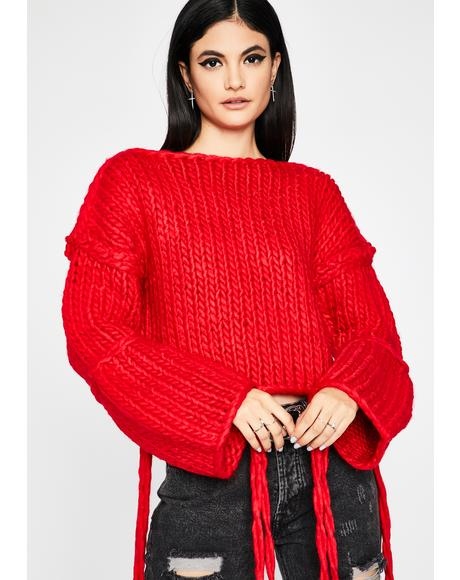 Hot Pumpkin Spice Vibez Chunky Knit Sweater
