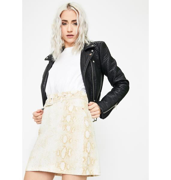 Momokrom Brown Snake Belted Mini Skirt