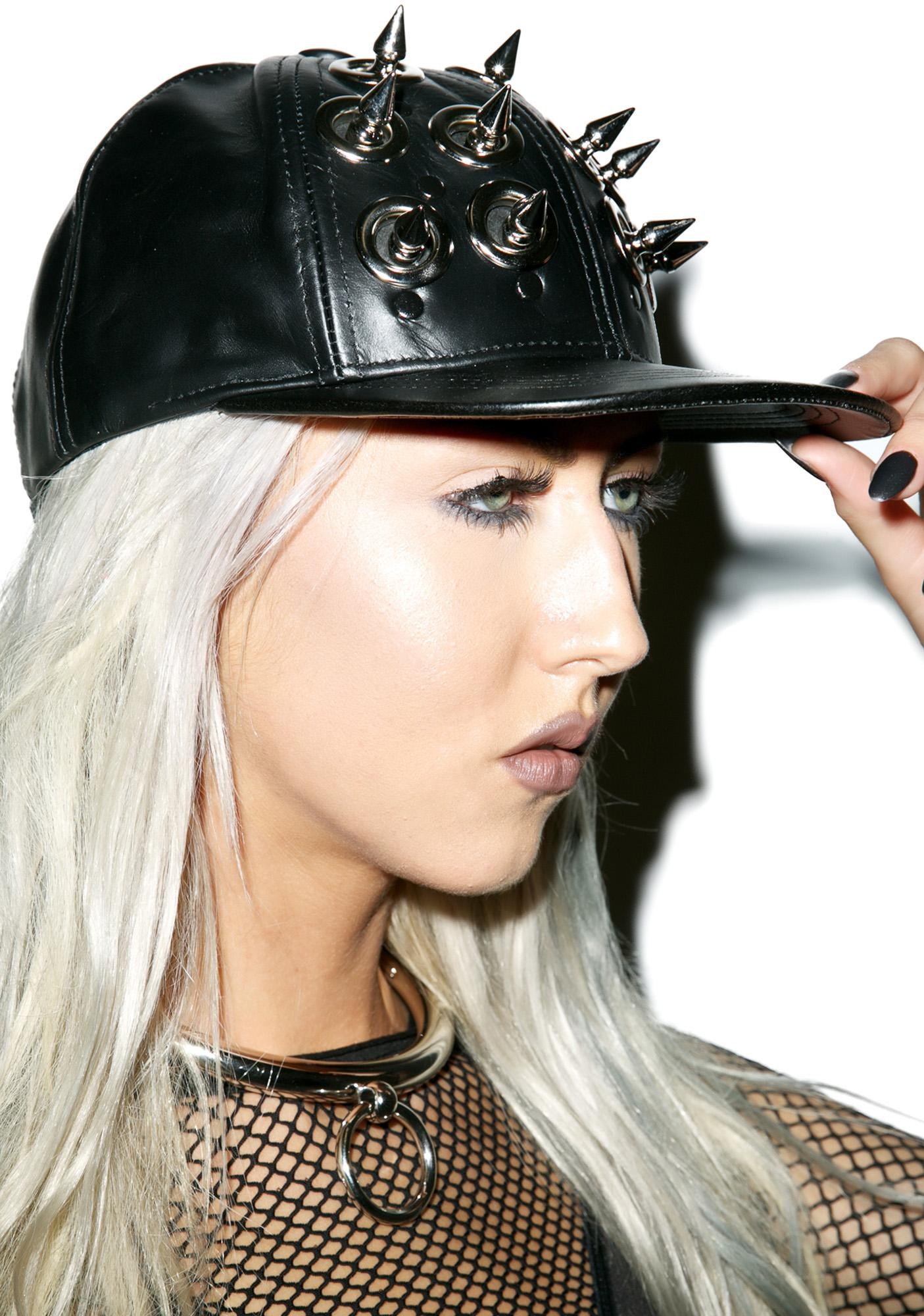 Club Exx Death Spike Leather Hat