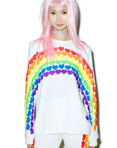Lovie Rainbow Heart Boyfriend Sweatshirt