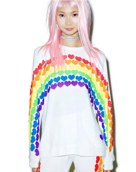 Lovie Rainbow Heart Boyfriend Sweatshirt