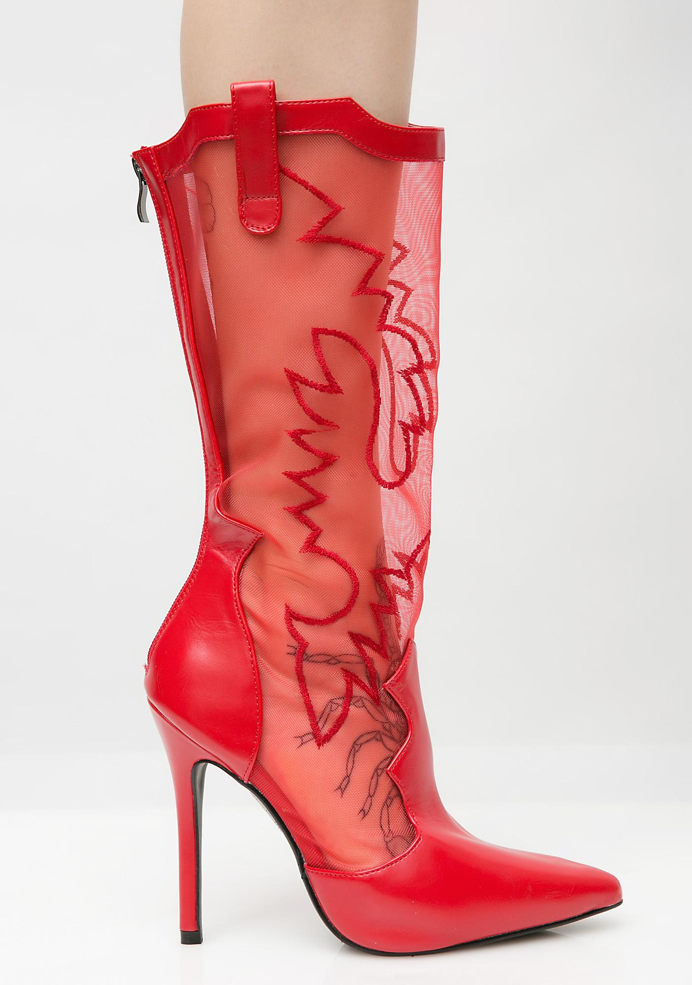 Crimson Ride 'Em Cowgirl Mesh Boots