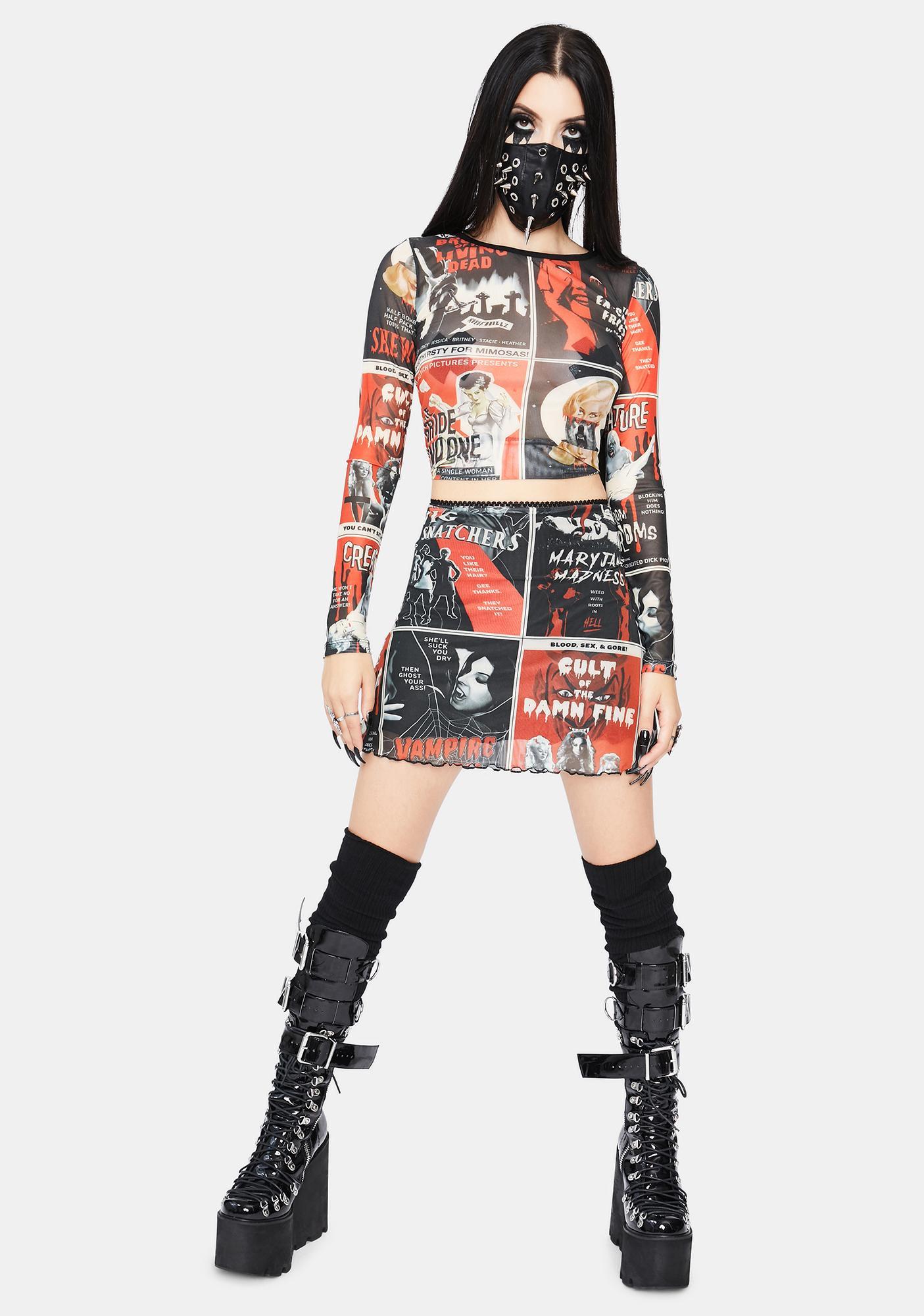 Dolls Kill Fears On Film Mesh Skirt