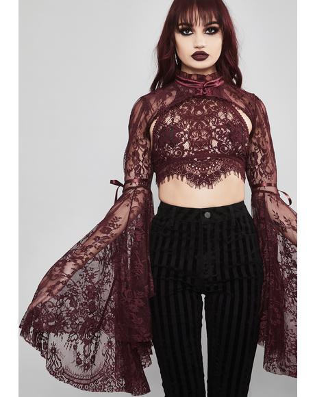 Wine Dusk Before Dawn Lace Shrug