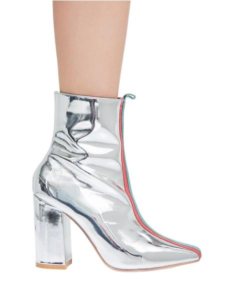 Metallic Strut In Line Booties