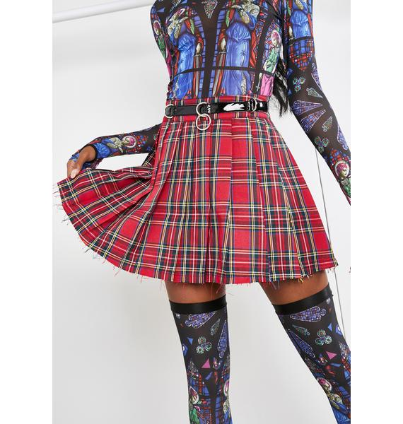Current Mood Ruby Dress Code Plaid Skirt