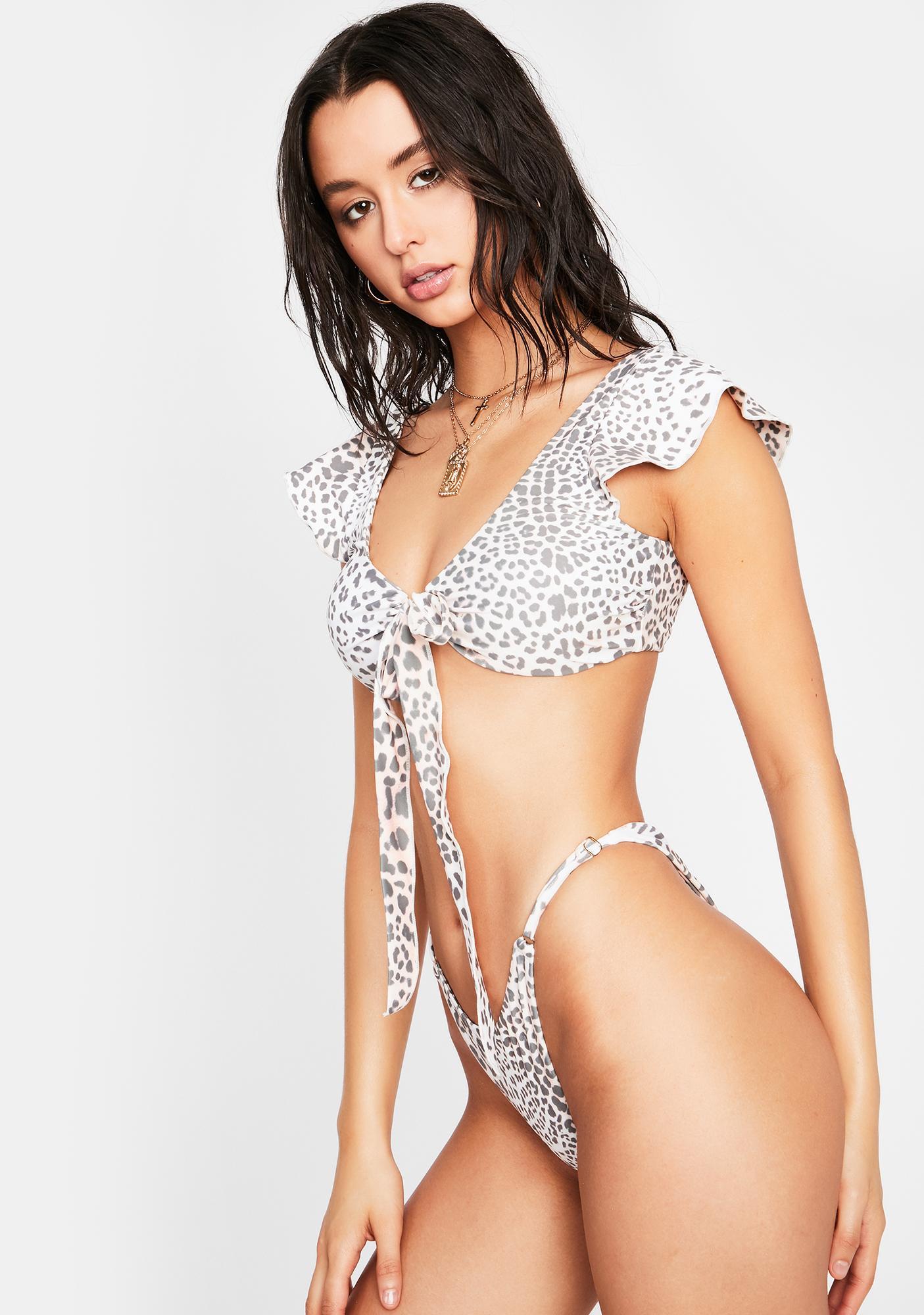 Power 2 the Flower  Leopard Raquel Bikini Top