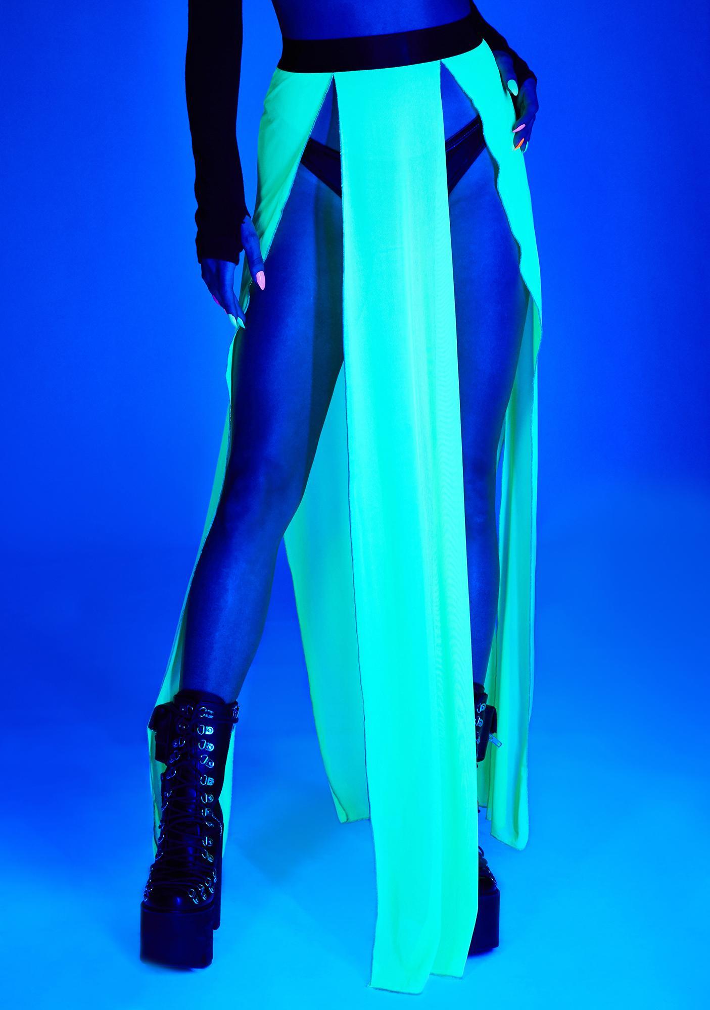 Club Exx Glowing Beatz Sheer Maxi Skirt