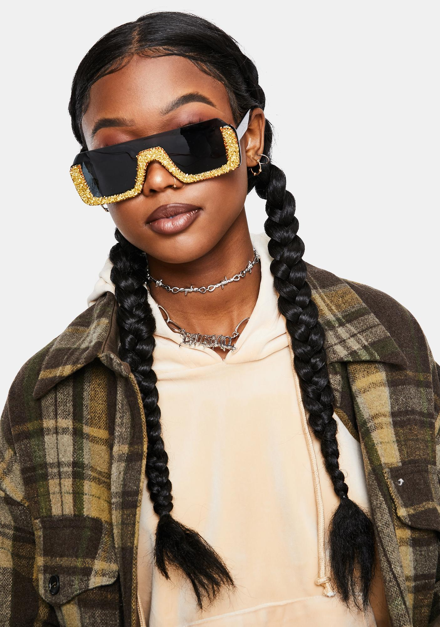 Gold Pop Fizz Rhinestone Shield Sunglasses