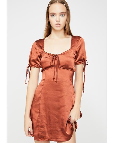 Dark Red Guenette Satin Dress