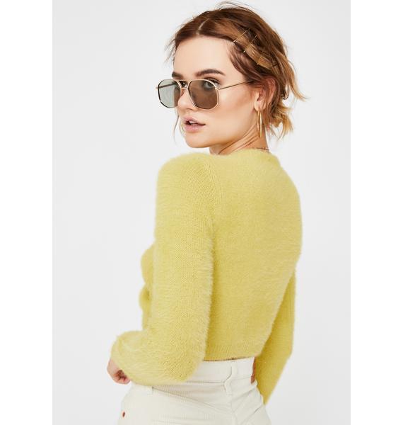 Honey Punch Matcha Cropped Fuzzy Sweater