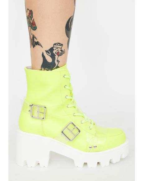Lime Influencer Status Combat Boots