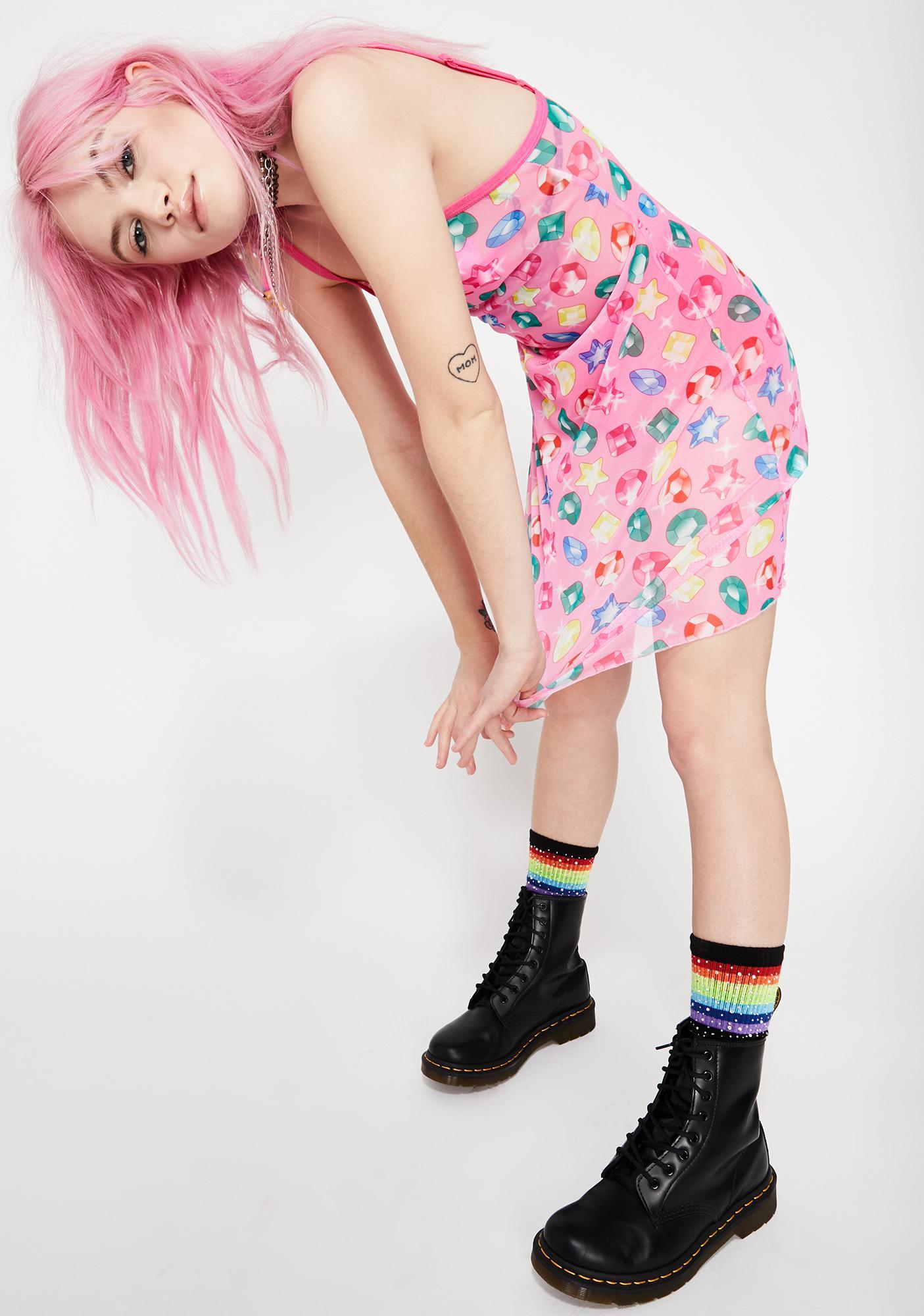 Good Luck Trolls x Dolls Kill Troll Gem Mesh Dress