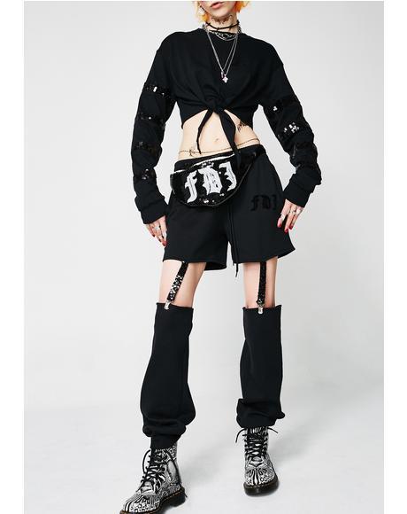 Sequin Suspender Pants